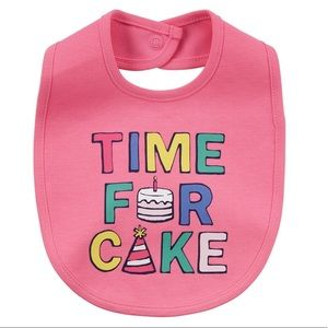 """Baby Girl """"Time For Cake"""" Graphic Bib"""